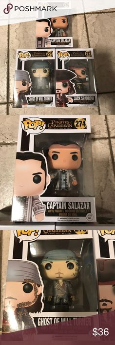 Pirates Of The Caribbean Funko Pops X 3 Brand New No Trades/Captain Salazar,Ghost Of Will Turner,Jack Sparrow Accessories