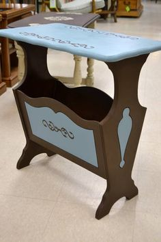Elegant Vintage Magazine Rack / Book Nook Refinished In Teal And Brown   23 Nice Look