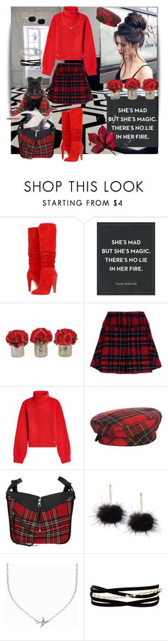 """Tartan Style"" by sherrysrosecottage-1 ❤ liked on Polyvore featuring Steve Madden, The French Bee, Pinko, Versace, Eric Javits, Loewe, Minnie Grace and Kenneth Jay Lane"