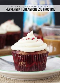 Marble Cupcakes with Peppermint Cream Cheese Frosting.
