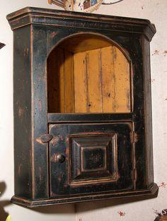 Primitive Handmade Hanging Corner Cupboard...