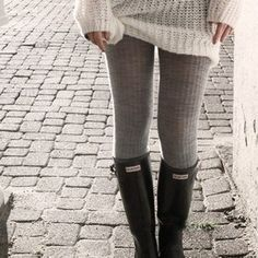 I'd love to find some knit leggings for winter. But specifically some that are obviously knitted, or crocheted, or thick and textured... like leg warmers, but full leggings.