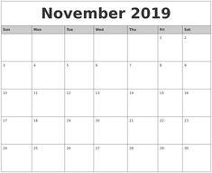 17 Fascinating Free November 2019 Calendar Printable Templates Images