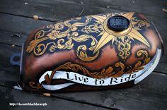 "http://vk.com/blackbearspb ""baroque compass"" Russia, St.Petersburg 2014 tank Honda APE 50/100 5,5L"