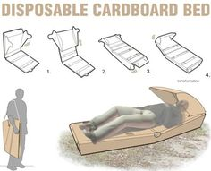 This affordable disposable cardboard bed provides the homeless with a bed and partial shelter and can equally be used as seating for open-air activities. Description from pinterest.com. I searched for this on bing.com/images