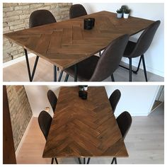 Herringbone table diy project  #dinningroom #table #herringbone #diy