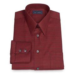 2-Ply Cotton Houndstooth Straight Collar Dress Shirt   Paul Fredrick