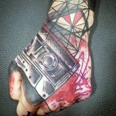 f292d7f40 Abstract Tap Red And Black Ink Geometric Hand Tattoos For Gentlemen