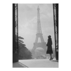 Silhouetted woman, Paris standing in trocadero Poster