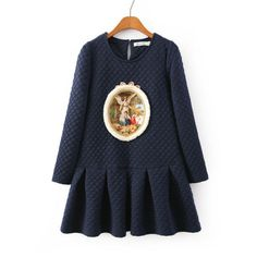 Blue Plaid Angel Pattern Fishtail Long Sleeve Dress