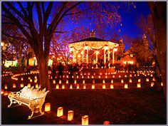 Luminarias... white paper bags, some sand or stones, and a tea candle. Gorgeous lighting