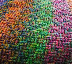 Scrap yarn afghan - Use 3 strands at a time, a huge hook like P or Q, & basket weave stitch. Thick! Because skein ends don't run out at same time, it gives this nicely blended hues of color. Could easily substitute any other stitch you'd like- all single, sc DC sc, shell, bobble, whatever strikes your fancy!