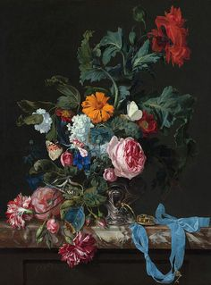 Willem van Aelst - Flower Still Life with a Watch, 1663 from the Royal Picture Gallery in Mauritshuis - The Hague and displayed at the National Art Gallery Washington DC Dutch Still Life, Still Life Art, Art Floral, Flower Vases, Flower Art, Peony Flower, La Haye, Still Life Flowers, National Art