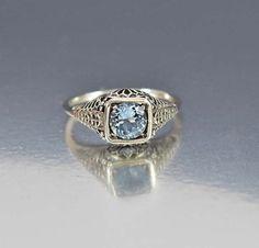 Silver Aquamarine Engagement Ring Edwardian Style