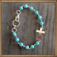 The Lucky Cowgirl Gifts Under $25. TheLuckyCowgirlShop.com #xmas #western #cowgirl Silver & Turquoise Corpus Christi Bracelet
