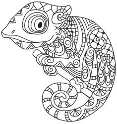 36 Trendy Ideas For Embroidery Projects Hand Urban Threads Animal Coloring Pages, Coloring Book Pages, Coloring Sheets, Paper Embroidery, Embroidery Patterns, Chameleon Color, Karma Chameleon, Chameleon Craft, Reptile Crafts