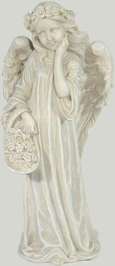 Diese wunderschöne Engelsfigur ist ein echter Blickfang! Die aufwendig gestaltete Skulptur zeigt einen Engel mit einem Blumenkranz im Haar und einem Korb voller Blumen. Die Figur ist aus Kunststein gefertigt und wird in einem dekorativen antikweiß geliefert. Sie können den Engel sowohl im Innen- als auch im Außenbereich platzieren, da er sich durch Wetter- und Frostbeständigkeit auszeichnet. Di...