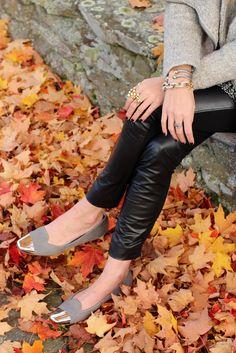 Grey + Gold + Black leather