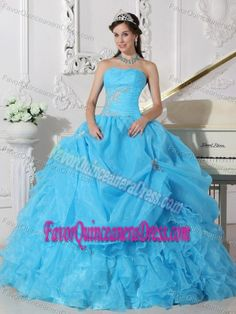 Aqua Blue Ruched Fall Dress for Quinceanera with White Appliques in Organza