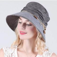 Casual beaded bucket hat for women UV protection wide brim sun hats