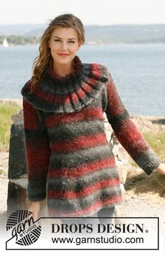 """Knitted DROPS jumper with collar in """"Verdi"""". Size: S - XXXL.  My next project."""