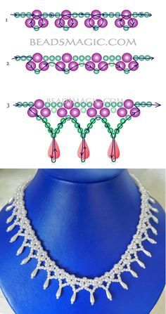 beaded jewelry patterns Free pattern for beaded bridal necklace Monica Beading Patterns Free, Beaded Jewelry Patterns, Beading Tutorials, Free Pattern, Bead Patterns, Beading Ideas, Weaving Patterns, Crochet Patterns, Diy Necklace Patterns