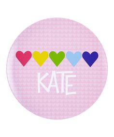 Look at this #zulilyfind! Hearts-in-a-Row Personalized Plate #zulilyfinds