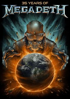 35 Years of Megadeth Metal Fan, Heavy Metal Rock, Heavy Metal Music, Heavy Metal Bands, Dark Artwork, Metal Artwork, Thrash Metal, Vic Rattlehead, Metallica Art