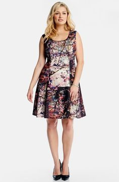 Karen+Kane+'Painted+Forest'+Scuba+Knit+Fit+&+Flare+Dress+(Plus+Size)+available+at+#Nordstrom