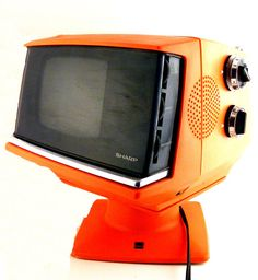 Retro Sharp TV Orange Portable Model Space Age offered by… Vintage Television, Television Set, Radios, Vintage Space, Vintage Tv, Lps, Sharp Tv, Portable Tv, Record Players