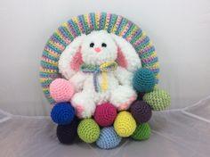 Whimsical Christmas Tree Pillow or Door Hanger Crochet Pattern Easter Crochet, Crochet Round, Holiday Crochet, Easter Wreaths, Christmas Wreaths, Autumn Wreaths, Whimsical Christmas Trees, Crochet Wreath, Crochet Flowers