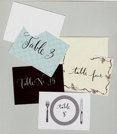 Escort cards and envelopes custom designs by lilflower on Etsy