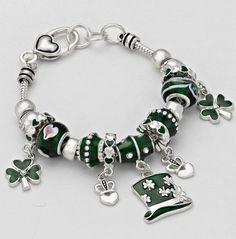 St.Patrick's Day Irish Clover Charm Bracelet