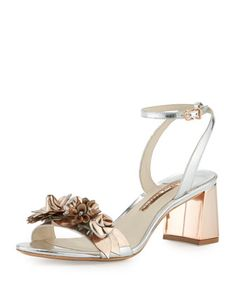 Lilico Floral Leather Mid-Heel Sandal, Silver/Rose Gold by Sophia Webster at Neiman Marcus.