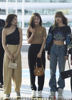 Blackpink Jennie, Jisoo, and Lisa Blackpink Outfits, Kpop Fashion Outfits, Blackpink Fashion, Fashion Looks, Tumblr Outfits, Korean Outfits, Polyvore Outfits, Asian Fashion, Casual Outfits