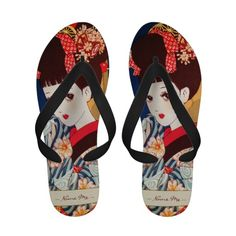 Cool japanese Nakahara tender manga lady little geisha Flip-Flops sandals with custom name Beach Flip Flops, Flip Flop Sandals, Flip Flop Fantasy, Japanese Poster, Cute Crafts, All About Fashion, Anime Style, Geisha, Flipping