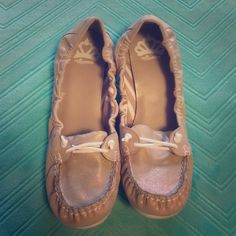 Tan White Laced Shoes Size 10 tan shoes with white soles and laces and a slight gold sparkle/sheen - size 10 - only worn twice Fergalicious Shoes Flats & Loafers