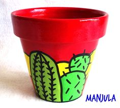 Ofelia - Macetas by Manjula Deco Cactus, Cactus Art, Painted Clay Pots, Painted Flower Pots, Flower Pot Crafts, Clay Pot Crafts, Pot Jardin, Posca, Terracotta Pots