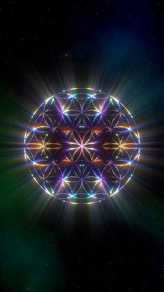 Revolving #floweroflife with colorful light rays. 1920 x 1080 up to 60 mins duration #calming #sacredgeometry #mindfulness