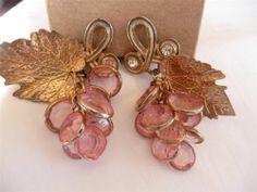 Vtg Bold Bezel Set Pink Lucite Bronze Grape Leaf Rhinestone Cha Cha Earrings | eBay