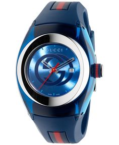 2213705be89 Gucci Sync Unisex Swiss Blue and Red Rubber Strap Watch 36mm YA137304 Gucci  Watch