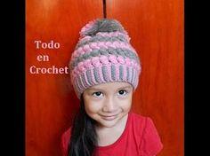 Como tejer gorro con relieve a Crochet o ganchillo - Learn Crochet Beanie How to Crochet Kids Hats, Crochet Beanie Hat, Slouchy Hat, Knitted Headband, Crochet Scarves, Knitted Hats, Puff Stitch Crochet, Crochet Cap, Easy Crochet