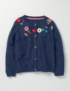 Crochet Floral Cardigan (School Navy)