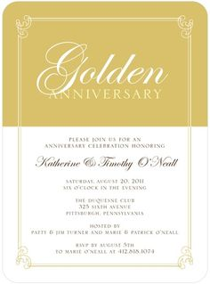 Golden Precious Metal - Signature White Anniversary Party Invitations - Sarah Hawkins Designs - Dijon - Yellow : Front