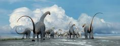 Titanosauria herd on the move across a part of what is now Argentina.