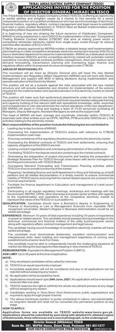 Director General TESCO   Newspaper Jobs Contract Management, Senior Management, Portfolio Management, Daily Dawn, Implementation Plan, Regulatory Affairs, Newspaper Jobs, Job Advertisement, Business Planning