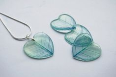Mint Blue Ombre Resin Necklace Eco Leaf Skeleton Heart Resin Jewelry Real Leaf Veins Transparent Pendant Love Romantic 925 Silver Plated