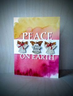 Peace on Earth card Peace On Earth, Simon Says Stamp, Watercolor Techniques, Watercolor Background, Christmas Inspiration, Scrapbook Pages, Cardmaking, Wednesday, Card Ideas