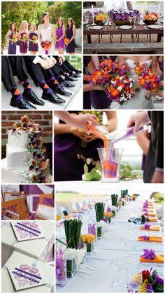 purple and orange wedding color theme ideas *the orange is growing on me with the dark purple...*