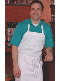 "White Economy Restaurant Aprons    •Size 28""Wide x 34"" Long   •Machine Washable   •Made to Last!   •Polyester & Cotton Blended Material  http://www.bestbuyuniforms.com/detail.asp?id=465  see more aprons http://www.bestbuyuniforms.com/listing.asp?cid=7"